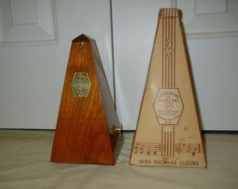 Beautiful Antique Wood Metronome de Maelzel w/ Box, Seth Thomas Clocks, in Red Oak, Restored, Calibrated, Runs Great. Has Solid Brass Trim.
