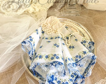 Something Blue Hanky, Vintage Wedding Handkerchief, Brides Hankie, Mother of the Bride, Bridesmaids Gift,  Bouquet Handkerchief, Farmhouse