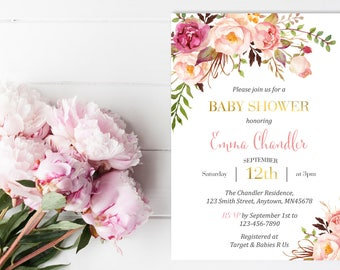 Pink Gold Printable Boho Baby Shower Invite, Pink Floral Baby Shower Invitation, Baby Girl Invite, Peonies Watercolor Invite Download 308-PG
