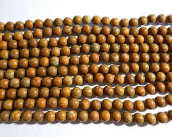 12mm Wooden Jasper Polished Round Gemstone Beads, Half Strand (INDOC74)