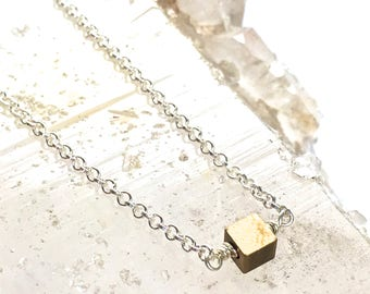 Tiny Squares Necklace -Petite style -Silver with Brass-Two Tone Necklace