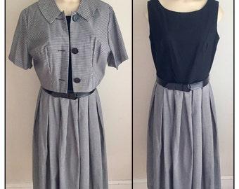 Vintage 1960s Misses' Black and White Gingham Check Sleeveless Dress Cropped Jacket 8 10