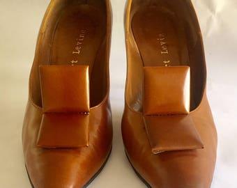 Vintage 1960s 70s Women's Herbert Brown Leather Pumps Heels Shoes 8 8.5