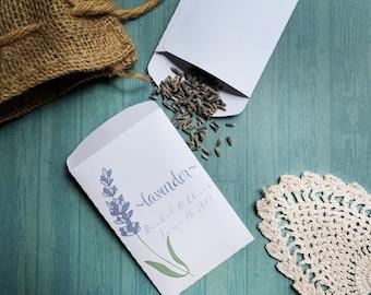 20+ Custom Seed Packet Lavender Envelope Wedding Favor Personalized Favour Shower Spring Summer Seeds DIY Flower Handmade Paper Pre-printed