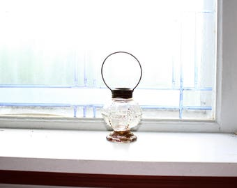 Glass Candy Container Lantern Vintage 1930s