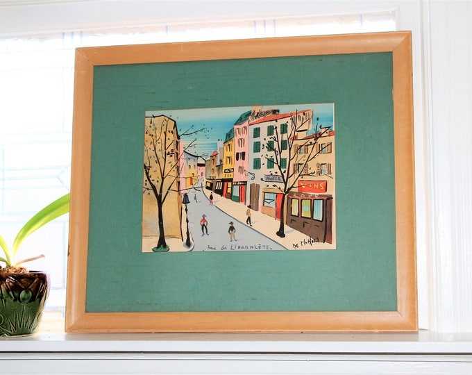 Mid Century Watercolor Painting Rue de L'arbalete Vintage 1950s Signed