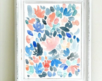 Abstract Watercolor Floral Painting, coral and blue, original watercolor painting, 9x12, abstract art, abstract flowers, watercolor flowers