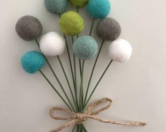 Aqua Mint Green Felt Pom Flowers- Billy Ball Flowers-  Billy Ball Centerpieces- Bridesmaid bouquet- Bridal bouquet- wool pom poms