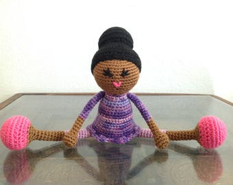 Crochet African American Doll with bun, Pink purple Stuffed toy baby girl kids children Gift, MADE TO ORDER