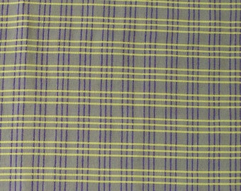 "Yellow & Purple PLAID FABRIC Cotton Blend Seersucker 56"" x 30"" Sew Craft 3/4 yd"
