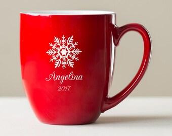 Personalized Christmas Mug: Engraved Christmas Coffee Mug with Snowflake & Name, Large Custom Christmas Mug, 2017 Christmas Mug, SHIPS FAST