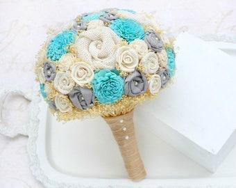 Turquoise Bridal Bouquet // Wedding Bouquet, Blue, Grey, Gray, Sola Wood, Burlap, Dried Flower, Babys Breath, Wedding Flower Bouquet