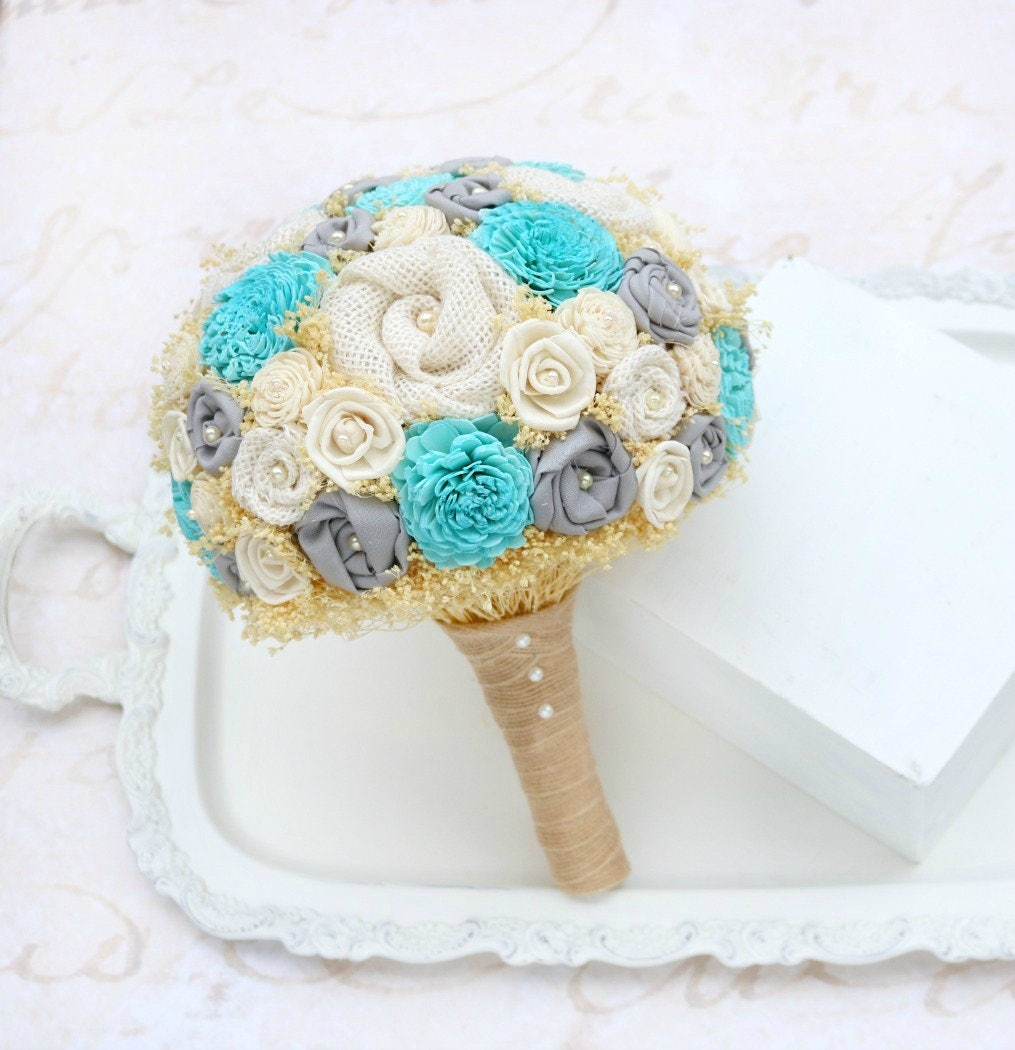 Turquoise bridal bouquet wedding bouquet blue grey gray zoom dhlflorist Gallery