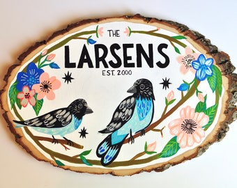 Personalized Name Sign, Hand Painted Wall Decor, Modern Farmhouse Decor, Bird Wall Art, Custom Last Name, Family Plaque, Rustic Wedding Gift