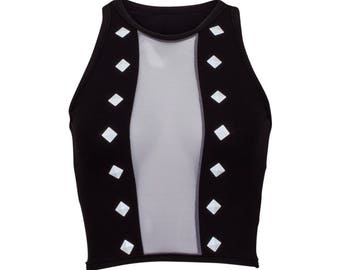 Mesh Center Studed Tank in Black and Grey