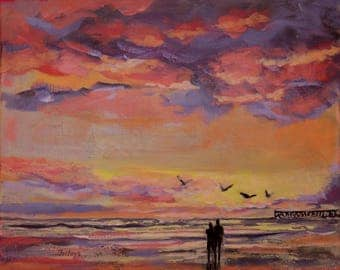 A glorious sunrise two.  Original, one of a kind beach painting.