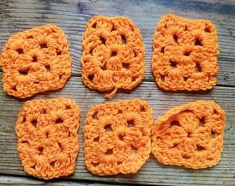 Vintage Handmade Orange Granny square lot / Vintage supplies / craft supplies / sewing / yarn / crochet / Afghan / neon color / bright / GS2