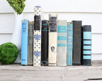 Set of 9 Vintage Books - Antique Book Decor - Photo Props -Wedding Decor- Blue, Grey, White, Black - Rustic Books - French Country - Rustic