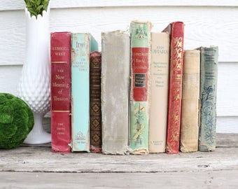 Set of 9 Vintage Books - Oliver Twist -Antique Book Decor -Photo Props -Wedding Decor- Brown, Tan, Red, Mint - Rustic Books - French Country