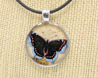 Resin Pendant, Butterlfy, Black, Blue, Orange, Beige, Round, 1 inch, Necklace, For her