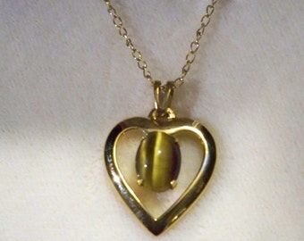 Gorgeous Tiger Eye Heart Pendant