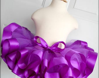 Purple Ribbon Trim Tutu - Birthday Tutu - Pageant Tutu - Toddler Tutu - Infant Tutu - Purple Tutu - Mermaid Birthday - Under The Sea Party