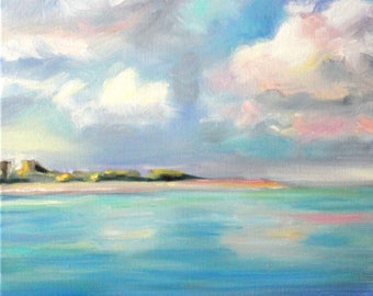 Original Oil Painting: Tropical Seascape with Cloudy Skies