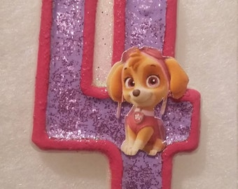 Paw Patrol Skye Birthday Number Candle