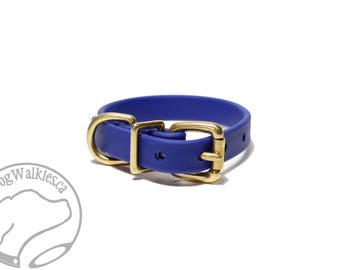 "Royal Blue Biothane Dog Collar - 5/8"" (16mm) - Leather Look and Feel - Custom Sized - Solid Brass or Stainless Steel Hardware"