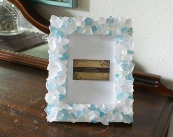 Sea glass frame - 5 x 7 picture frame - sea glass frame - blue picture frame - wedding picture frame - coastal beach decor