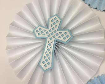 Christening Decorations |Boys 1st Birthday |Baby Blue and White Rosettes |Baptism Decor | First Communion | Party Paper Fans | Baptism Party