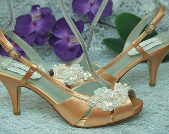 Size 8 1/2 Peach Wedding Bridal Shoes Ready to ship, Bridesmaids, Peep Toe Satin Slingbacks, Small Platform, Midd Heel Length, Lace Applique