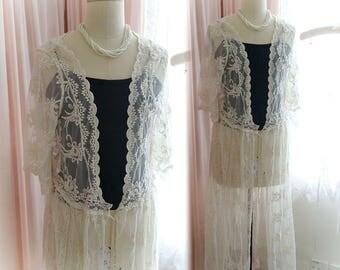 Victorian Elegance Boho Shabby CHic  Lace Long kimono jacket beige cream rustic wedding fairytale