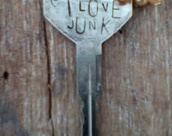 I Love Junk Handstamped/One of a Kind/Repurposed Vintage Key Necklace