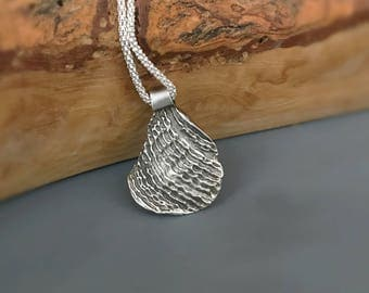 Sterling silver Ripple pendant Necklace, nature inspired jewelry, small silver pendant, shell pendant, beach jewelry, gift