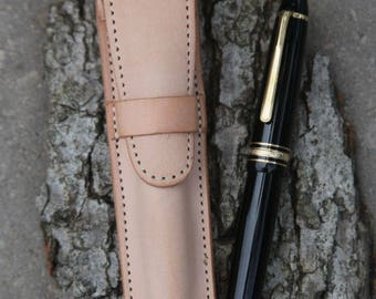 Natural Veg Tan Leather Single Pen Case, USA
