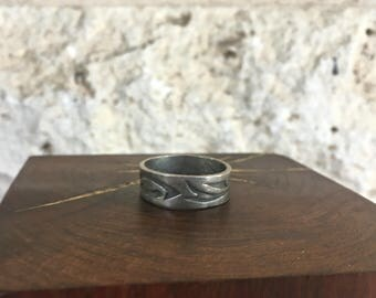 Vintage Men's Ring Size 12 3/4 Sterling Silver Band Men's Southwestern Ring Etched Silver Thumb Ring
