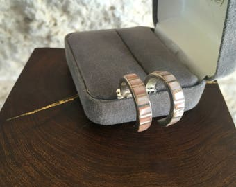 Pink Mussel Earrings Southwestern Hoops Vintage Inlay Earrings Mother of Pear Shell Sterling Silver Hoop Earrings Southwestern Jewelry