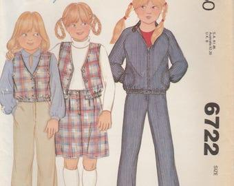 Girls' Cute 70s Wardrobe Pattern McCalls 6722 Size 4 Uncut