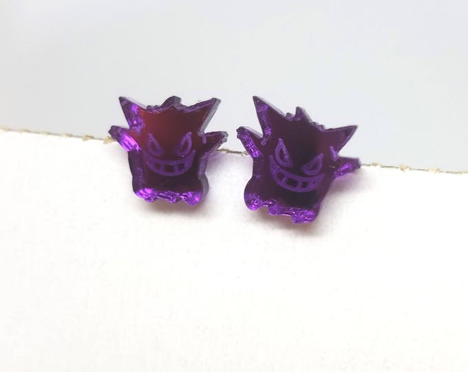 Purple Mirrored Acrylic Gengar Pokemon Earrings | Laser Cut Jewelry | Hypoallergenic Studs | Pokemon Jewelry | Mirrored Acrylic Earrings