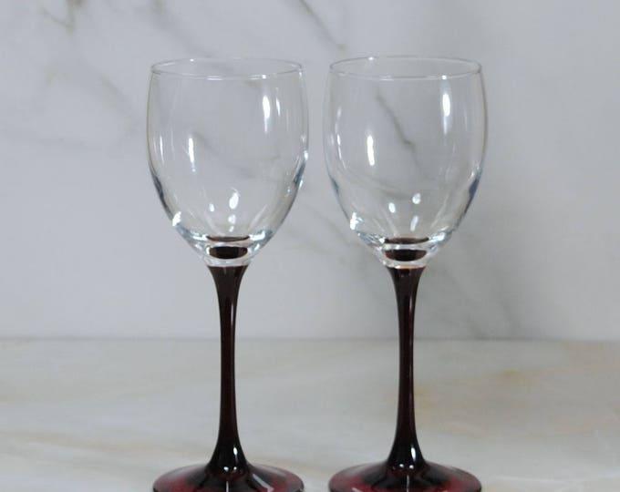 Vintage Red-Stemmed Crystal Wine Glasses by Luminarc, Set of 2