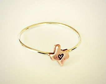 texas heart ring, tiny texas ring,  sterling silver texas ring, texas jewelry, texas accessory, texas ring with heart, austin ring, houston
