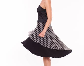 Tango Skirt in Black and White, Tango Clothes in Black, Tango Clothing with Mesh, Tango Skirt with Stripes, Custom Size Tango Skirt
