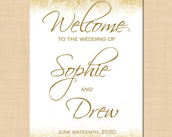 White Gold Sparkles Wedding Welcome Reception Sign (A3): Text-Editable in Microsoft® Word, Printable Instant Download