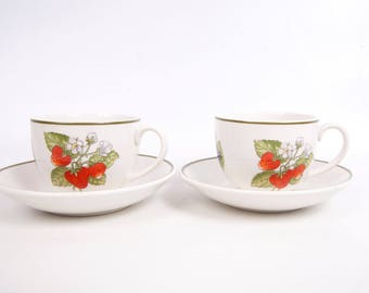 Vintage Staffordshire Gardens Tiffany Co Teacup and Saucer 2 Sets Fruit Pattern Made in England Johnson Brothers Cups Saucers