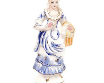 Vintage Occupied Japan Figurine Colonial Lady Statue Hand Painted Porcelain Woman in Period Clothes Made in Japan