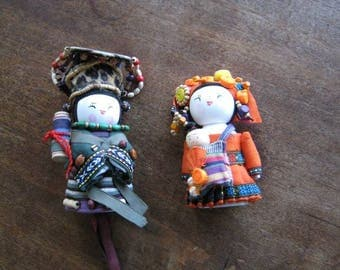 Colorful, Folkloric Asian Mama-Papa-Baby Figurines; Cloth with Wood~Adorable Asian Family Figurine Gift Set