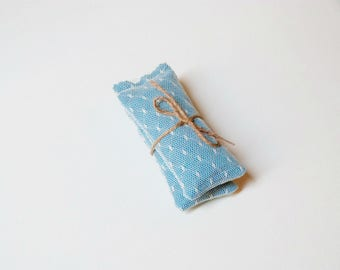 Lavender sachet set of 2 | fabric and lace lavender pillow | blue and cream | small gift for her under 10 | aromatherapy gift ideas | decor