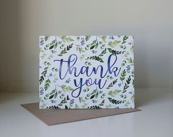 Thank You, Thank You Card, Watercolor Thank You Card, Navy and Green Card, Blank Thank You Card, Single Thank You Card, Simple Thank You