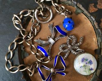 Three Bows and a Locket Necklace. Portrait, enamel, marcasite, antique assemblage, vintage, repurposed